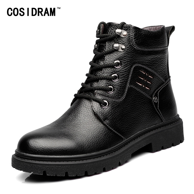 2016 Warm Winter Shoes Genuine Leather Men Boots A...