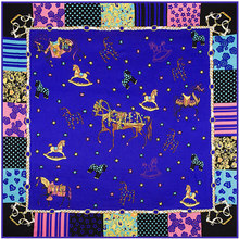 Twill Silk Euro Brand Style Women fluorescence Cute Toy Horse Lovely Star CONTRAST COLOR 130cm*130cm Silk Square Scarf Hijab