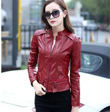 New Fashion Women Motorcycle PU Leather Jacket Coat Stand collar short section Slim PU coats outerwear plus size A153