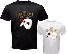 Summer The Phantom of The Opera Broadway Show Musical T-shirt Men Women Black White Cotton ONeck Shirt Short Sleeve Casual Shirt(China)