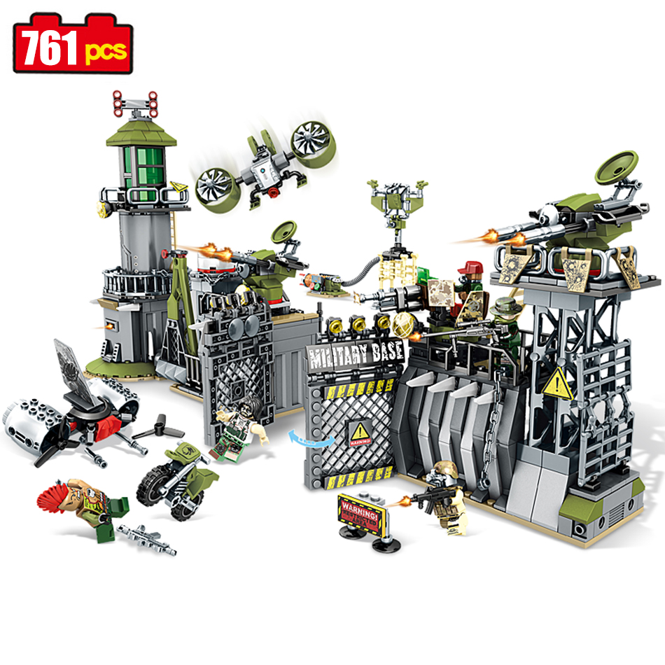 Sembo block 761pcs military Defensive wall building blocks Compatible Legoed forces war enlighten DIY bricks toy for Children<br>