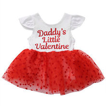 Toddler Kids Baby Girls Ruffles Sleeve Red Heart Tutu Ball Gown Dress Summer Baby Romper Bodysuit