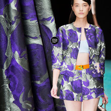100% polyester couture fashion fabric, big floral pattern, good luster, mature style, sew for top, coat, suit, craft by the yard