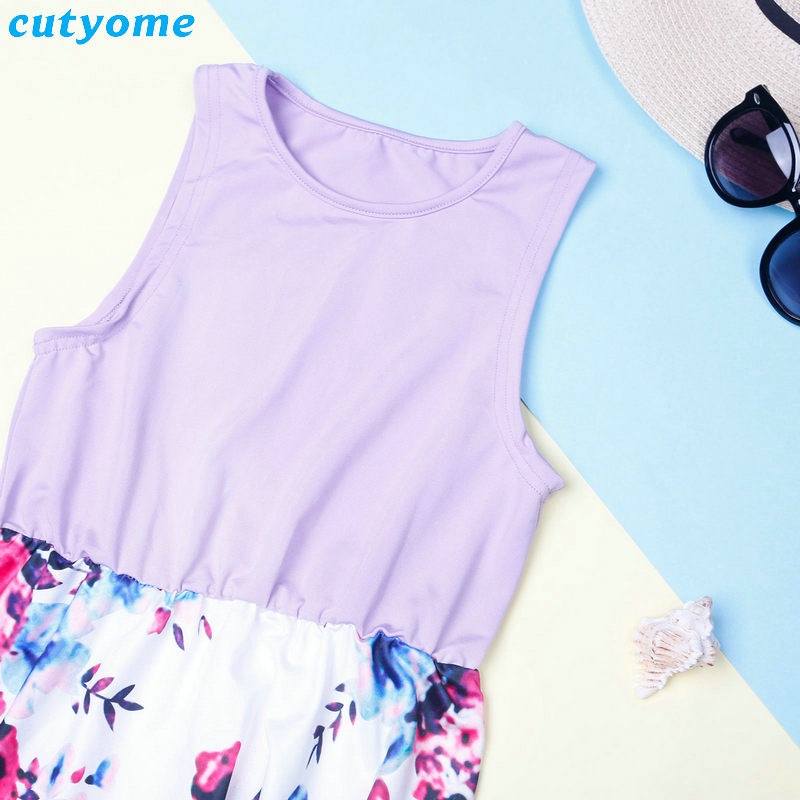 Summer Family Matching Outfits Mother and Daughter Dresses Patchwork Dress Kids Mom Daughter Floral Dress Matching Clothes 2018 (7)