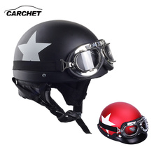CARCHET Motorcycle Helmets With Goggles 2 Color Visor Motocross Half Face Helmet Carbon White Star 55cm-60cm For Harley kawasaki