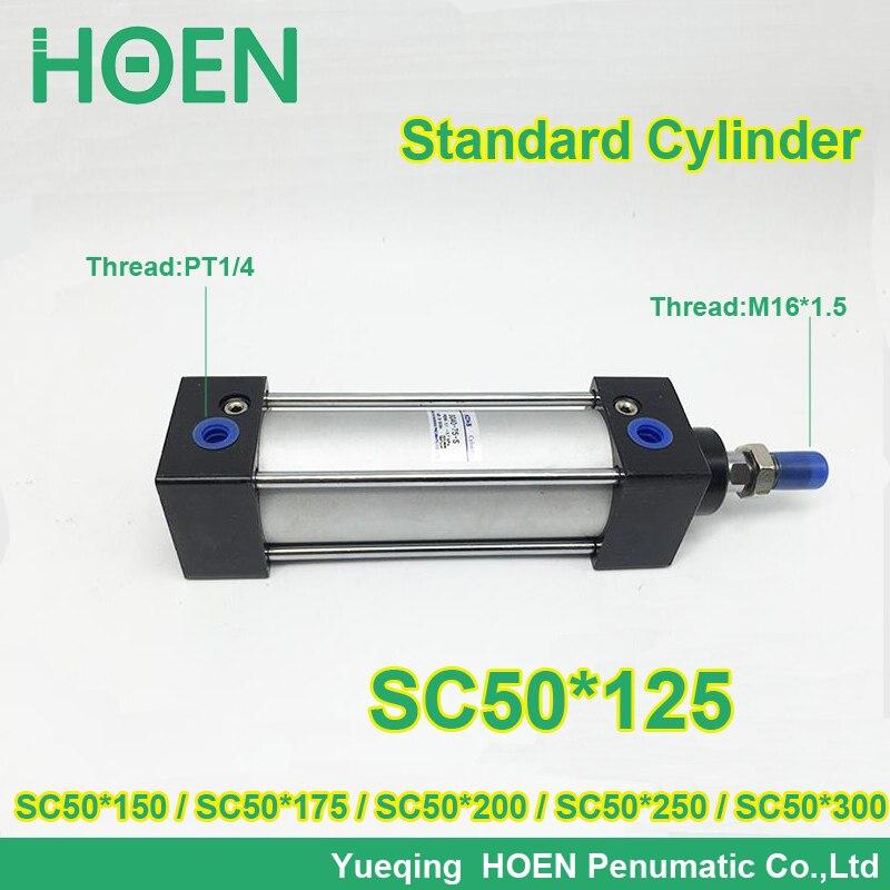 SC50*125 50mm bore SC50-125 standard single rod double action pneumatic cylinder SC series SC50*150 SC50*175 SC50*200 SC50*250<br>