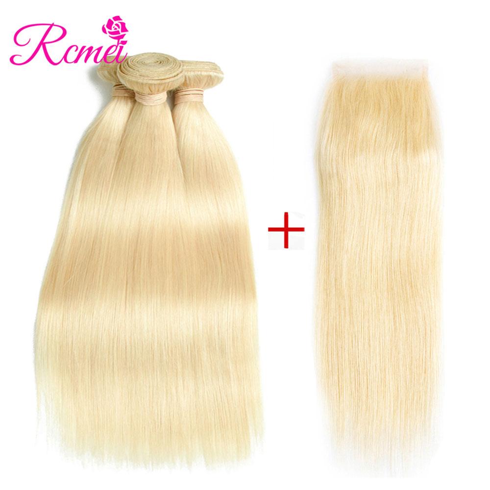 3/4 Bundles With Closure Mstoxic 613 Bundles With Closure Malaysian Straight Hair Bundles With Closure Remy Human Hair Honey Blonde Bundles With Closure