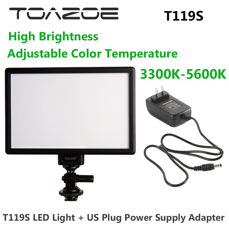 TOAZOE T119S Ultra-thin Photography Fill Light 3300K-5600K LED Video Light + US/EU Plug Power Supply Adapter for DSLR Camera(China)