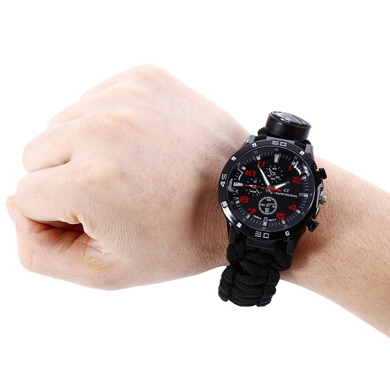 Tactical Multi Functional 6 in 1 Outdoor Survival Watch Bracelet with Compass Flint Fire Starter Paracord Thermometer Whistle<br>