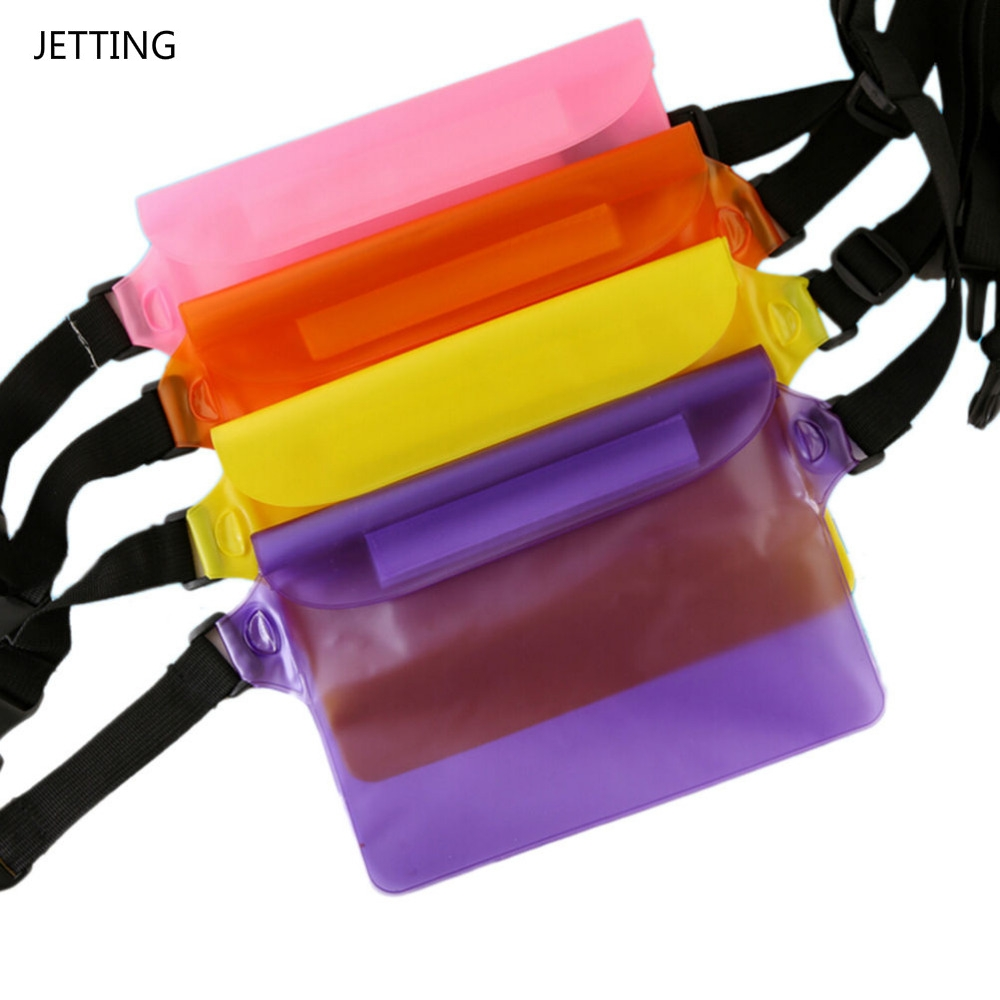 4 Color PVC Waterproof Waist Bag Women Candy Colors Pouch Bag Case With Waist Strap for Beach Boating