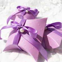50pcs Tiffany Blue purple Pillow Wedding Party Favor Paper Gift Box Candy Boxes Supply Accessories Favour Gift Boxes Free Shippi