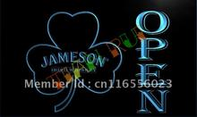 LA074- Jameson Whiskey Shamrock OPEN Bar LED Neon Light Sign