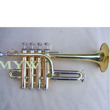 piccolo trumpet outfit gold lacquer 4 pistons valves cupronickel pipe hard case(China)