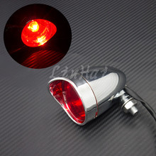 Motorcycle Chrome Bullet Rear Stop Tail Brake Light For Cafe Racer Bobber Chopper Custom
