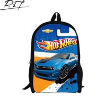 2016 New Arrival Child Cartoon Cars Design Kids Game Team Hot Wheels Drift Backpack Boys School Backpacks For Teenagers