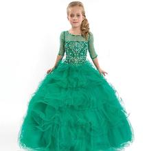 Flower Girl Dress Pageant Beauty Junior 2017 Gowns Turquoise  Kids Party Children first communion girls Dresses