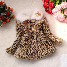 Retail new girls spring and autumn cotton fur coat Baby Toddler leopard sweet and lovely children's casual jacket jacket(China)