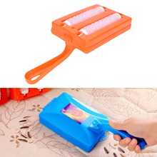 KuZHEN Handheld Carpet Table Crumb Sweeper Plastic Dual Brush Cleaner Collector Roller Home Cleaning Tools Random Colors