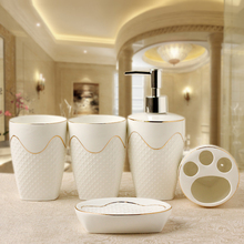 Europen Style Low Relief Ceramics Bathroom Accessories Set 5pcs/set Household Wash brush cup Liquid Dispensers Soap Dishes(China)