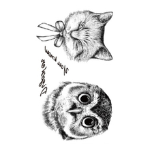 2PCS Flash Tattoo Stickers Liberty Small Birds Fly And Paiting Brush Drawing Owl Letter Design Waterproof Temporary Tattoo(China)