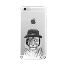 2017 Fashion hot cartoon forest animals panda bear fox dog cat sloth tiger ultra thin clear soft tpu cell phone case For Iphone(China)