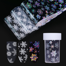 3Pcs Christmas Snowflakes Holographic Nail Foil Xmas Laser Holo Nail Tips Sticker Nail Art Transfer Sticker Water Slide 4*100cm