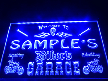 DZ051- Name Personalized Custom Biker's Garage Motorcycle Repair Bar Neon Sign  hang sign home decor  crafts