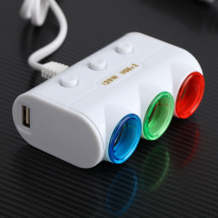 -95% OFF Universal 3 Ways Car Triple Led Cigarette Lighter Socket Splitter Charger Power Adapter 2 USB New Car Ashtray(China)