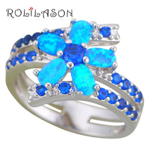 ROLILASON Delicate Flower Design Blue Fire Opal 925 Silver Fashion Jewelry Wedding Rings USA Size #5#6#7#8#9#10 OR879