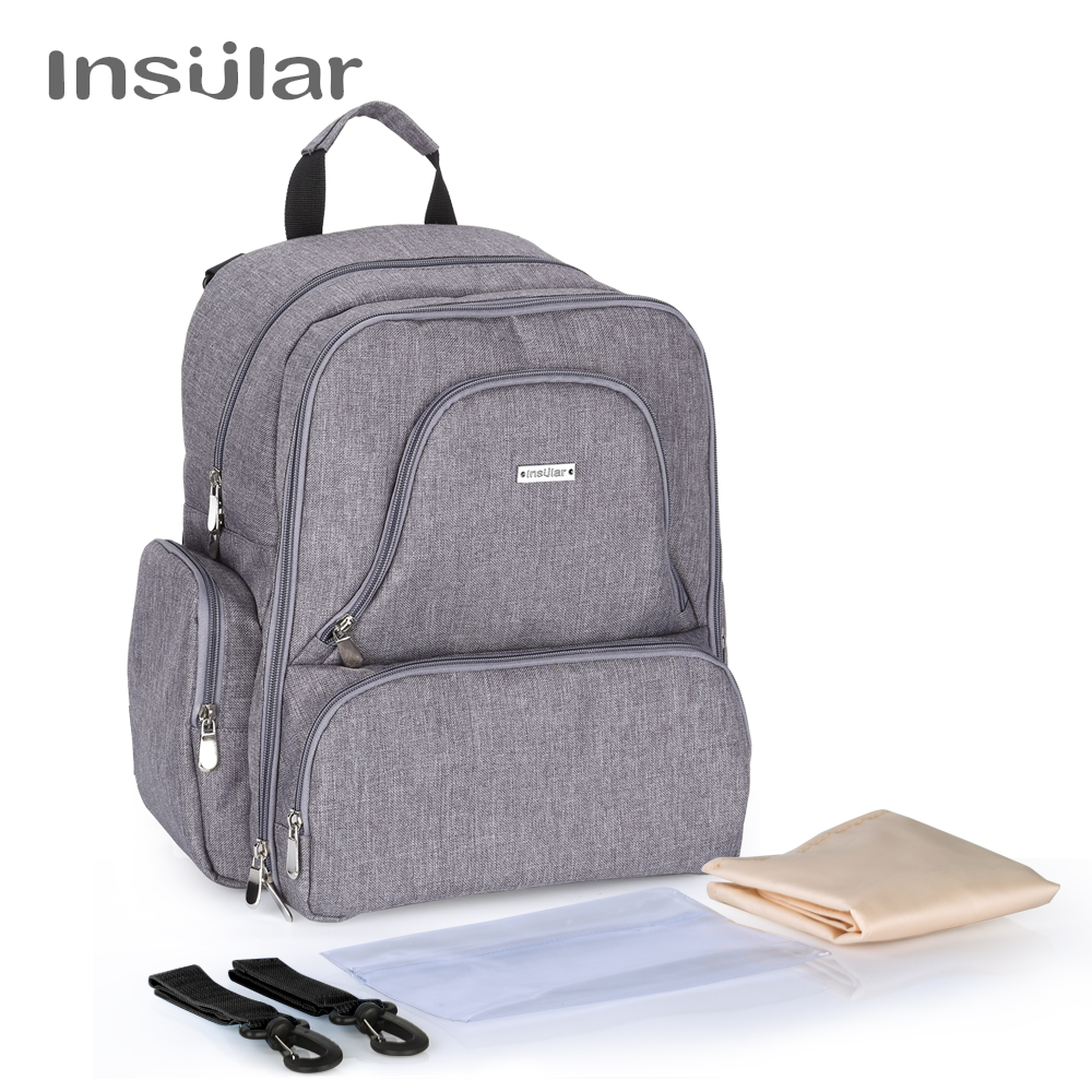 Insular Brand Multifuntion Baby Diaper Backpack Mummy Bag Baby Waterproof Nappy Changing Backpack Fashion Baby Stroller Bag<br>