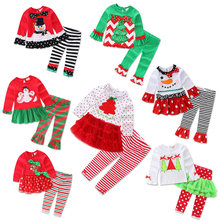 Christmas Birthday Outfits For Baby Girl Boutique Set Clothes Bow TUTU T Shirt Top+Ruffle Pant 2PC Suit Wedding Tracksuit Kit