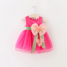 1pc Retail NEW 2016 Summer girl dress,lace, bow princess dress, sleeveless fashion, elegant dress for girl, pink, K06