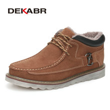 DEKABR High Quailty Working Rubber Men Shoes Comfortable Ankle Boots Male Footwear Cow Suede Autumn Winter Warm Fur Men Boots(China)