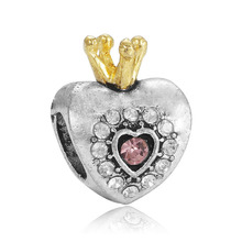 Original Heart Shape Gold Crown Pink Crystal Big Hole Charm Beads Silver Plated DIY Jewelry Accessories For Bracelet Bead JPB181