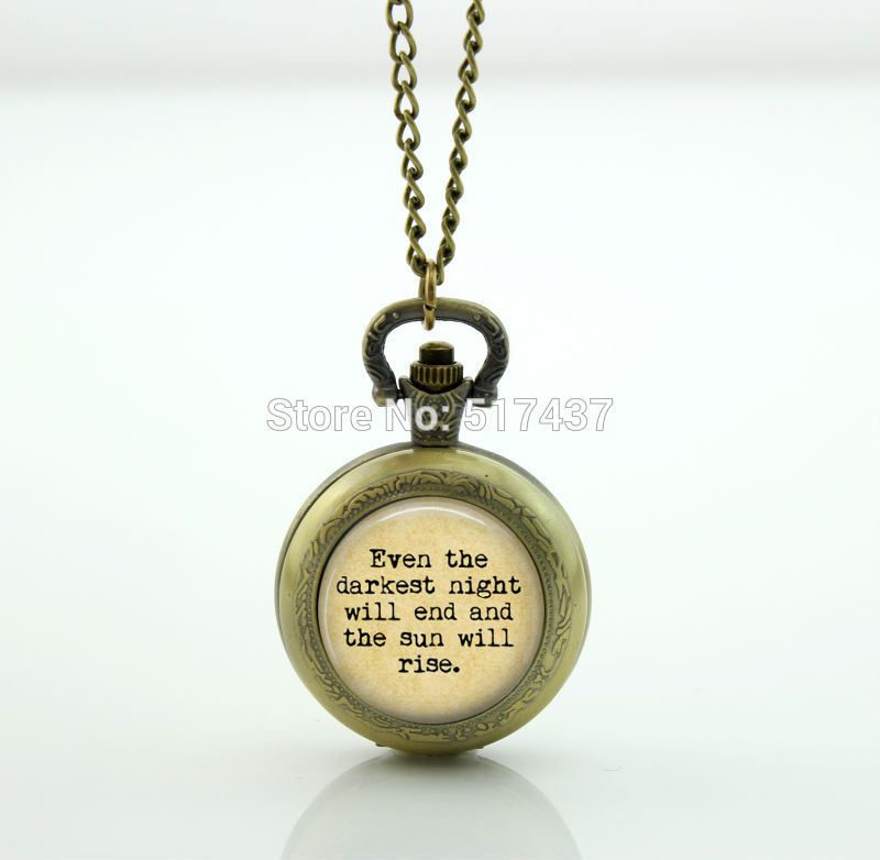 Les Miserables Literature Quote Watch Photo Locket Necklace Vintage Pocket Watch Necklace locket