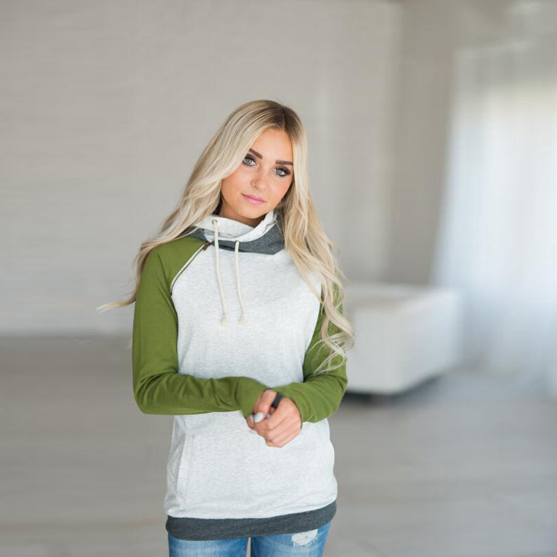 New Double Hood Sweatshirt, Women's Long Sleeve, Side Zipper Hooded Casual Pullover 26