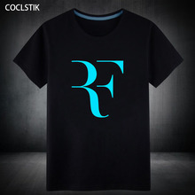 100% Cotton Summer Fluorescent Letter Printed T Shirt Mens Roger Federer Fitness T-shirt Homme Streetwear Hip Hop Tops Tee S-5XL