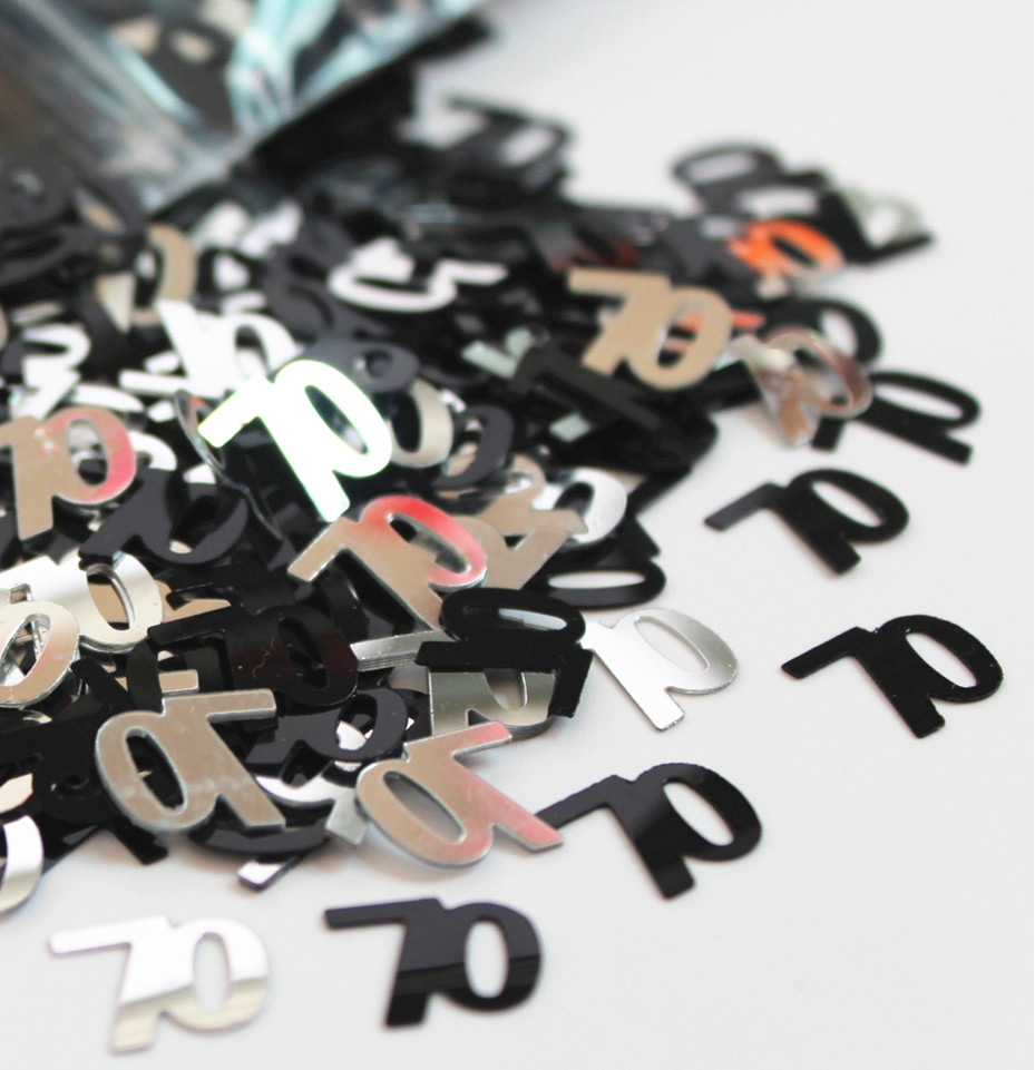 70th Birthday Party Decorations Confetti Anniversary Black