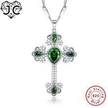 J.C for Women Excellent Dating Necklace Cross Design Water Drop Emerald Topaz Solid 925 Sterling Silver Pendant Fine Jewelry(China)