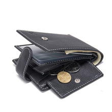 MJ08 Baborry Men Wallets Wallet ID Card holder Coin Purse Pockets With Coin Bag Gift Fashion Genuine Leather Black Wallet