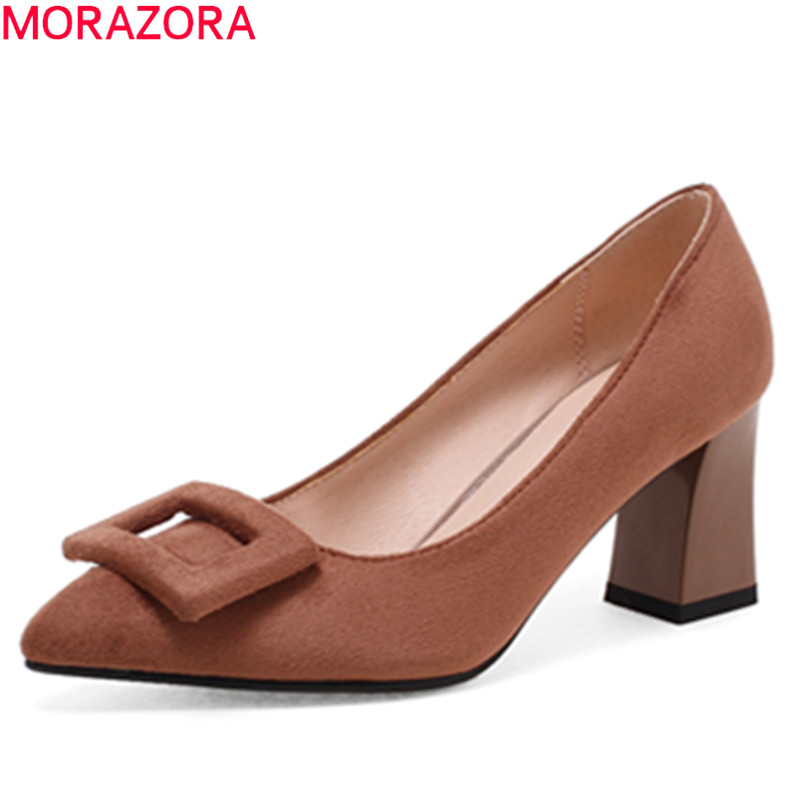 MORAZORA new arrival 2018 spring summer shoes square heel flock pointed toe high heels shallow slip on pumps women shoes<br>