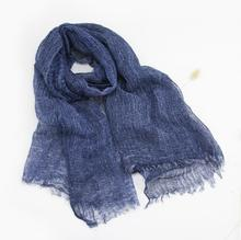 Linen Scarf Navy Black Women's Fashion Plain Pashmina Spring Summer Beach Natural Fabric Soft&Warm High Quality Free Shipping