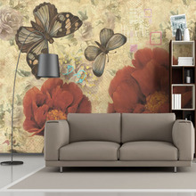 Custom 3d photo American television wall mural wallpaper wallpaper flowers retro TV background Chinese style bedroom warm