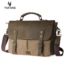 YUFANG handbag for men canvas leather high quality travel bags retro briefcase hasp military shoulder bag