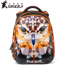 GRIZZLY New Fashion kids baby Cartoon School Bags Orthopedic Waterproof Primary children backpacks for girls Grade 1-4 Bookbag(China)