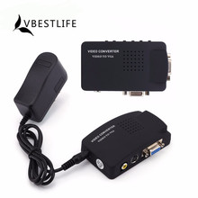 VBESTLIFE US/UK/AU/EU Plug DVD Player TV RCA Composite S-Video AV In To VGA For Mac PC Laptop VGA LCD Out Converter Adapter Box(China)