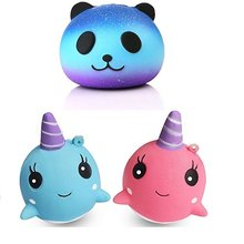 Jumbo Kawaii Colorful Panda/Whale/Unicorn Squishy Slow Rising Cute Cartoon Straps Pendant Soft Squeeze Bread Cake Kid Toys Gift(China)