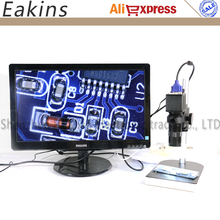 2in1 Digital Microscope Camera VGA USB outputs+56 LED ring Light+stand holder+8-130X C mount lens for PCB /Lab repair
