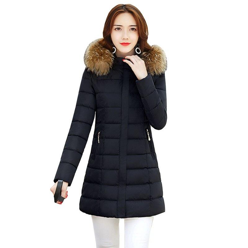 Luxury Soft Fur Collar Hooded Women Coat 2017 Winter Warm Cotton Woman Long Coat Fashion maxi long Female Jacket Outwear 4L42Îäåæäà è àêñåññóàðû<br><br>