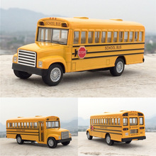 Alloy Emulational Car Model Classic School Bus American school bus Doors Openable kids child car toy best gift learning toy gift(China)